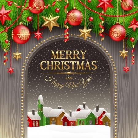 Kerst illustratie - Vakantie decoratie met kerstballen en winterdorp Vector Illustratie