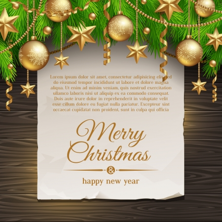baubles: Christmas illustration - paper banner with greeting and Christmas tree branches with golden decoration