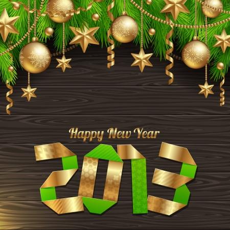 two thousand thirteen: Happy 2013 new year - holidays  illustration with golden decor Illustration