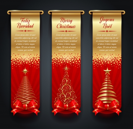 Vertical golden banners with greetings and Christmas trees Vector