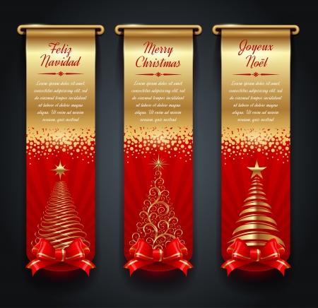 Vertical goldene Banner mit Gr��en und Weihnachtsb�ume