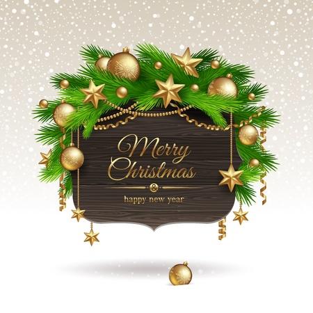 weihnachten zweig: Wooden Banner mit Weihnachten goldene Dekoration - illustration Illustration