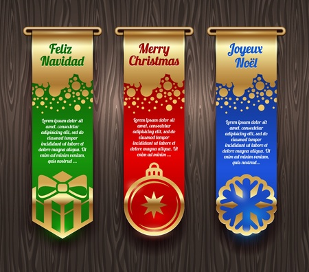 joyeux: Vertical vector banners with Christmas greetings and signs Illustration