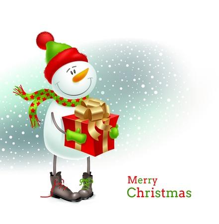 botas de navidad: Sonriente muñeco de nieve vestido con ropa de invierno y sosteniendo en las manos un regalo - ilustración vectorial