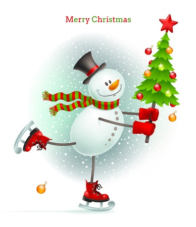 snowing: Smiling snowman with Christmas tree in hands skating on ice - vector illustration