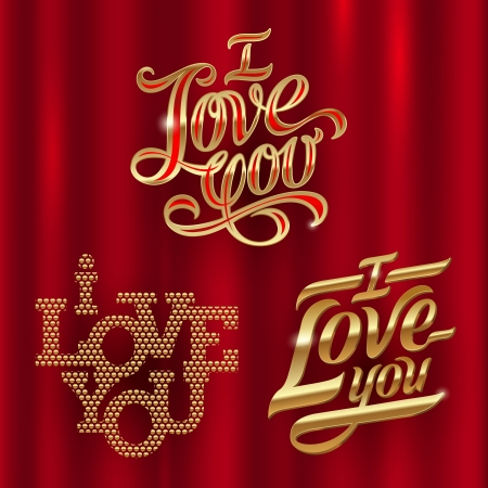love you: I Love You - golden decorative vector lettering