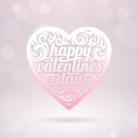 Ornate Valentines heart with holidays greeting - vector illustration Stock Vector - 17312279