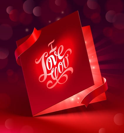 Valentines Day glowing greeting card with ribbon - vector illustration Stock Vector - 17312369