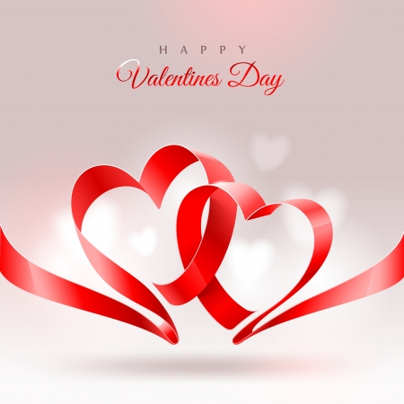 silk ribbon: Valentines Day greeting card - ribbon in the shape of two hearts
