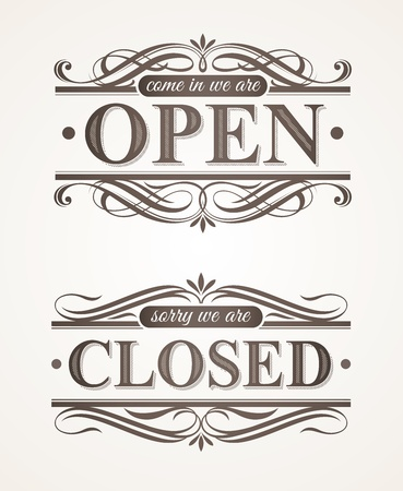 letrero: Carteles retro adornado - abiertos y cerrados Vectores