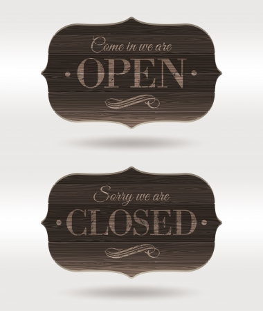 cafe sign: Retro wooden signs - Open and Closed