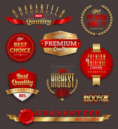 quality stamp: Set of premium & quality golden labels, signs and emblems Illustration