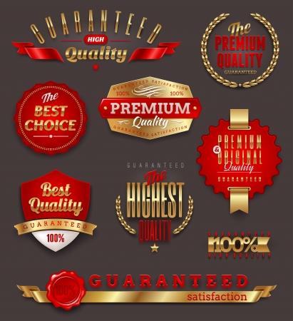 Set van premium kwaliteit gouden etiketten, borden en emblemen Vector Illustratie