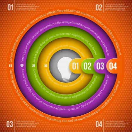 numbered: Astratto modello di progettazione infografica con elementi numerati Vettoriali