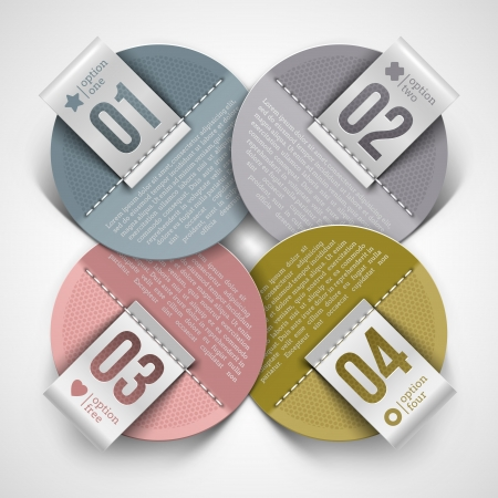 Numbered infographic round paper labels - vector illustration Stock Vector - 17693117