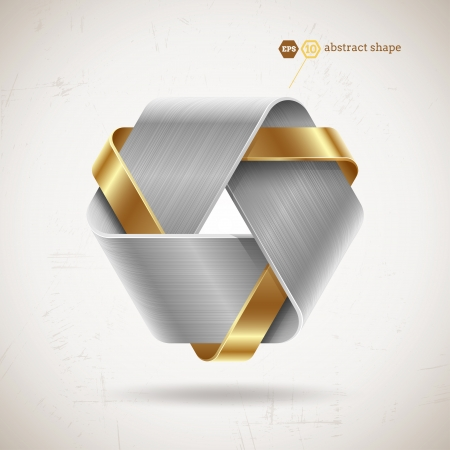 three objects: Abstract metal shape with steel and gold elements - vector illustration
