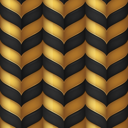 zig zag: Abstract black and gold seamless background