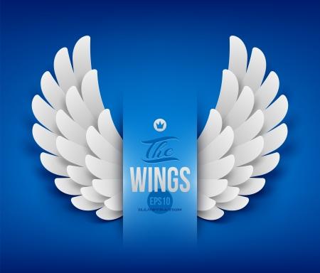 alas de angel: Alas de papel artificiales - ilustración vectorial