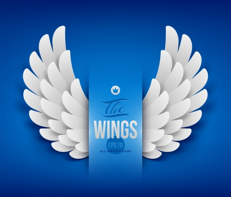 angel white: Artificial paper wings - vector illustration
