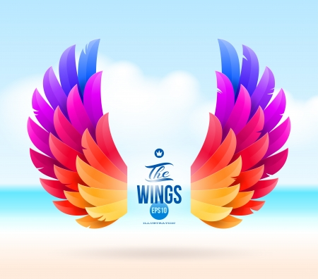 artificial wing: Abstract vector illustration - colorful wings on a tropical sea shore