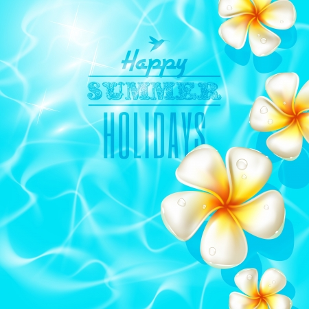 shinning: Tropical flores frangipani flotando en el agua azul claro Vectores