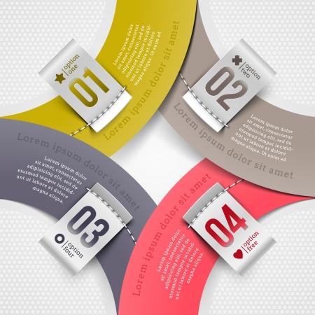 numbered: Elementi astratti di carta infographic con etichette numerate