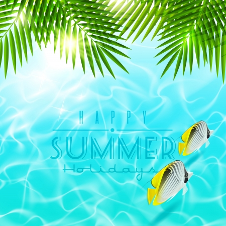 Summer holiday design - Palm branches over blue water with tropical fishes