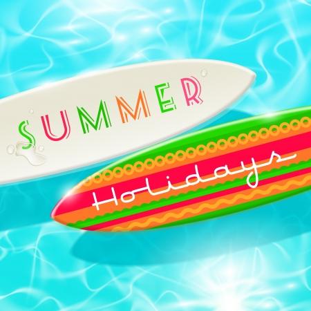 shinning: Vacaciones de verano dise�o - tabla de surf en un agua azul brillante tropical Vectores