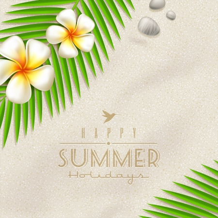 frangipani flower: Summer holidays design - frangipani tropical flowers and  palm tree branches on a beach sand