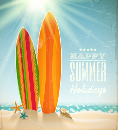 surfing: holidays vintage design - surfboards on a beach against a sunny seascape