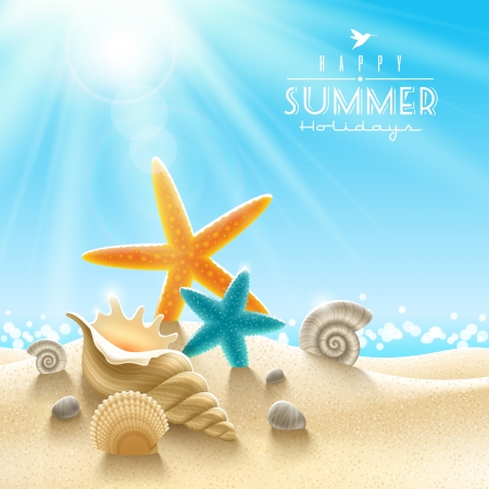sea stars: Summer holidays illustration - sea inhabitants on a beach sand against a sunny seascape