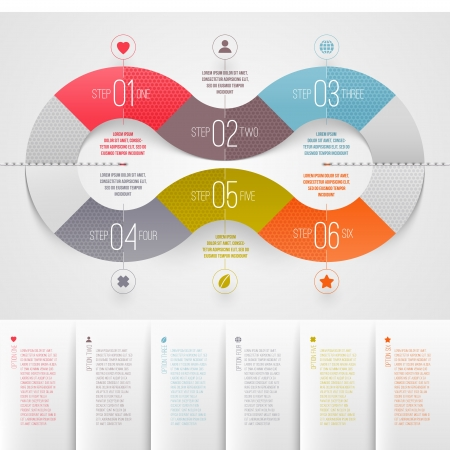 step by step: Infographics design template - abstract numbered color paper waves shapes