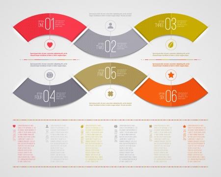 numbered: Infografica modello di progettazione - riassunto numerata colore della carta onde forma Vettoriali
