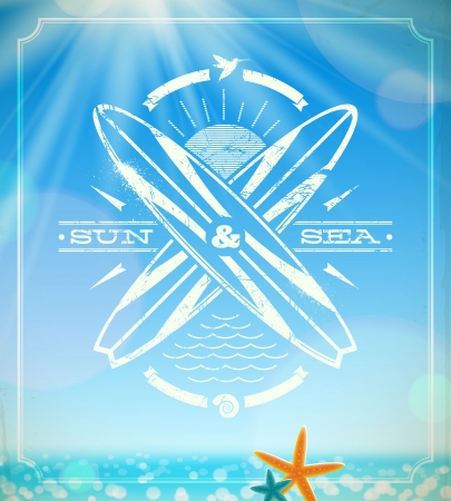 surfing grunge vintage emblem against a summer sunny seascape Vector