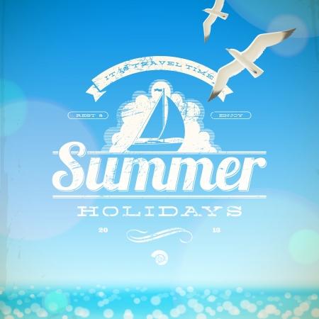 Vacaciones de verano emblema y gaviotas contra un fondo soleado paisaje marino