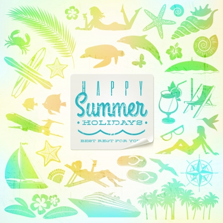beach resort: Rest and travel  set with summer holidays greeting sticker Illustration