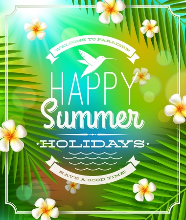 Summer holidays greeting emblem and frangipani flowers against a tropical forest background Stock Vector - 18596038