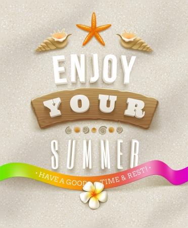 Summer holidays lettering with tropical nature elements on a beach sand Vector