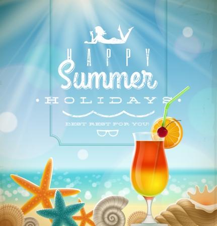 Vacanze estive illustrazione con greeting scritte e simboli resort tropicali su una spiaggia piena di sole