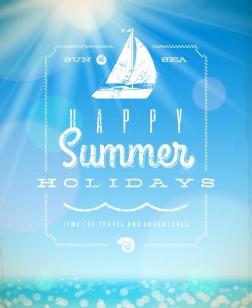 Vacanze estive illustrazione - lettering saluto emblema con yacht in un contesto soleggiato paesaggio marino Vettoriali