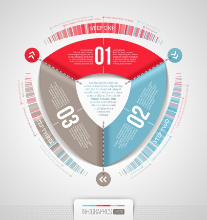 sewn: Abstract infographics design with numbered elements illustration Illustration