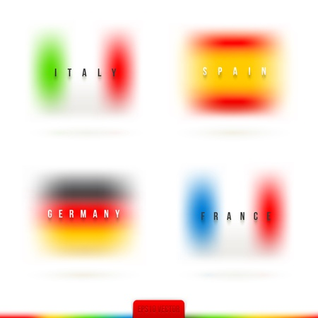 diffuse: European flags with country name and diffuse colors illustration Illustration