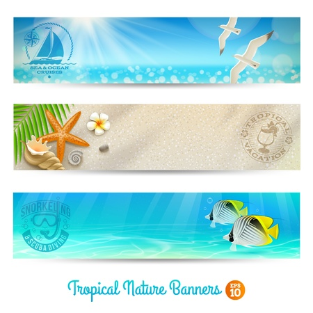 flora fauna: Travel and vacation banners with tropical natures