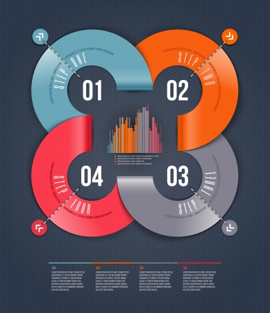 Abstract infographics design with numbered paper elements - illustration Illustration