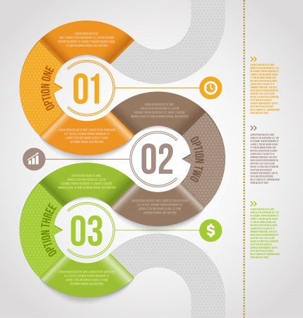 Abstract infographics template  design with numbered paper elements -  illustration Vector