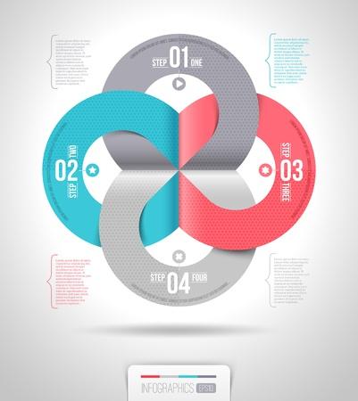 numbered: Estratto infografica modello di progettazione con elementi di carta numerati - illustrazione