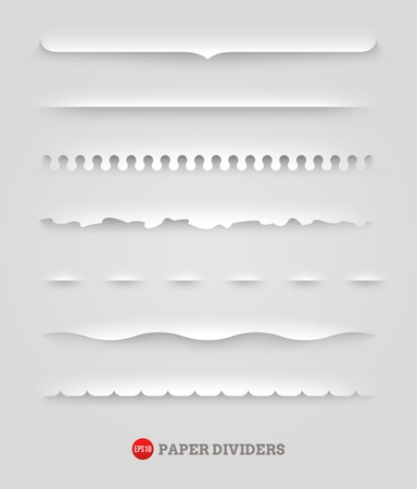 torn paper edge: set of paper decorative dividers Illustration