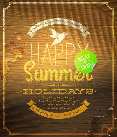 Summer holidays greeting emblem and sticker on a vintage wooden surface -  illustration Illustration