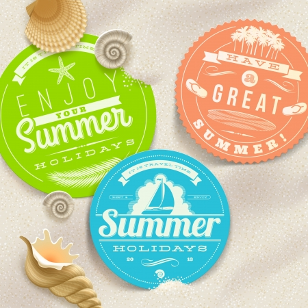 resorts: Summer vacation and travel labels and sea shells on a beach sand -illustration