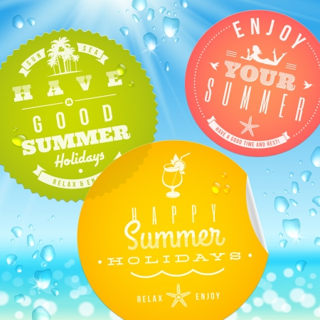Stickers with summer vacation and travel emblems on a glass against a sunny seascape -  illustration Stock Vector - 19370335